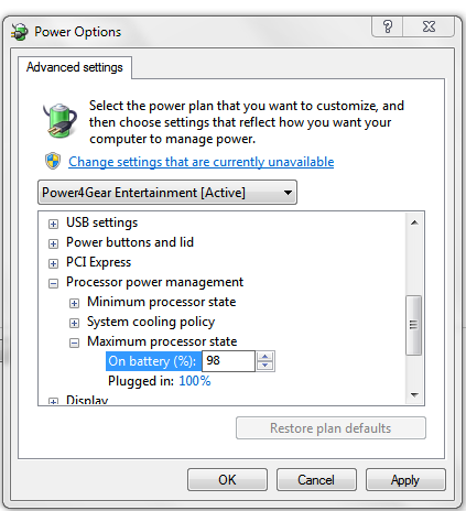 advanced setting in power options