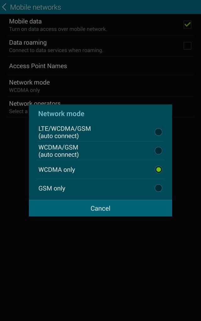 Samsung LTE menu