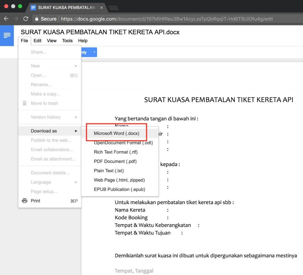 Cara download dokumen dari google docs
