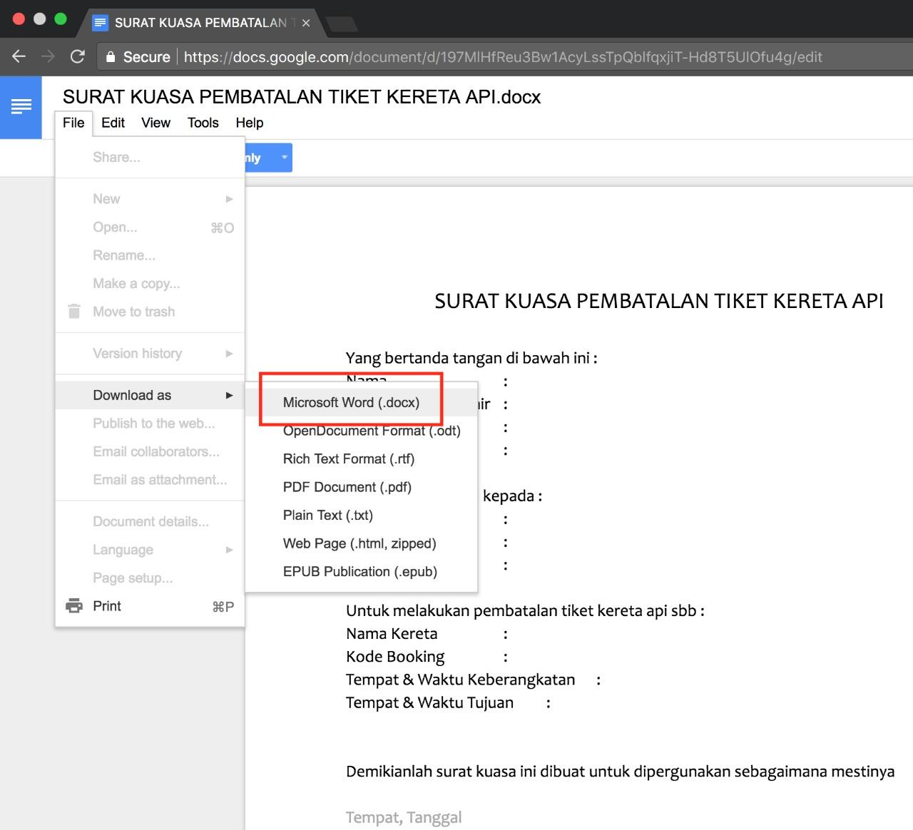 Contoh surat kuasa pembatalan tiket kereta api caleudum cara download dokumen dari google docs cara download dokumen dari google docs surat kuasa pembatalan tiket kereta api stopboris Gallery